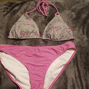 Pink and grey 2 peice bikini